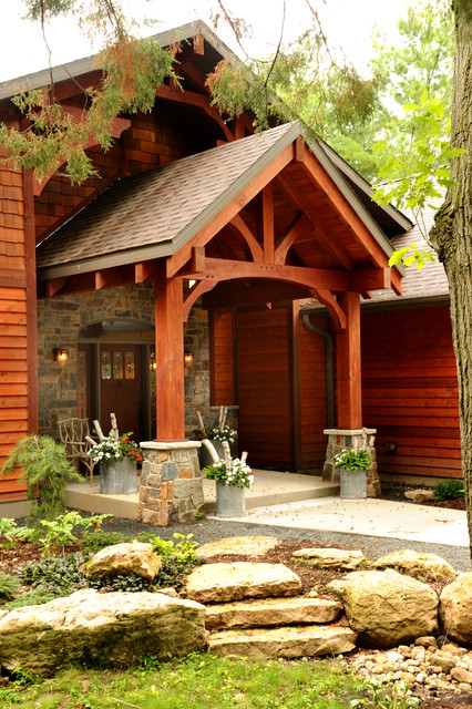 Timber Frame Covered Front Entry Rustic Exterior