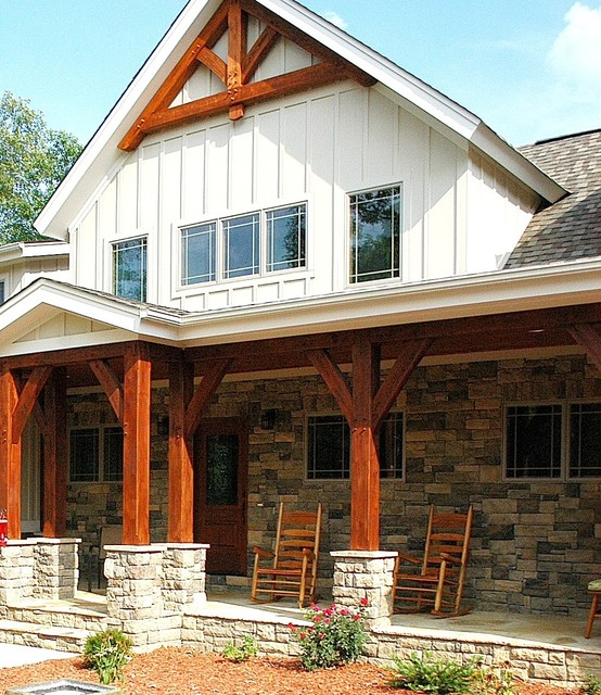 Timber frame home in sequatchie valley tennessee for Timber frame porches