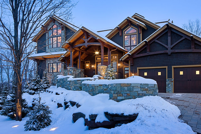 Timber Frame Home - Contemporary - Exterior - New York - by Woodhouse Post & Beam Homes