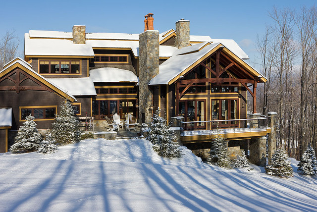 Timber frame home contemporary exterior new york Modern timber frame house plans