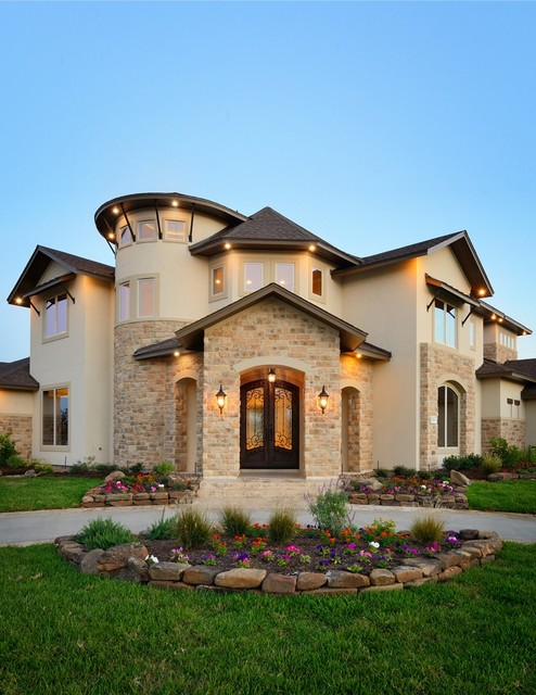 Towne lake corner lot front elevation rustic exterior for Houston home designers