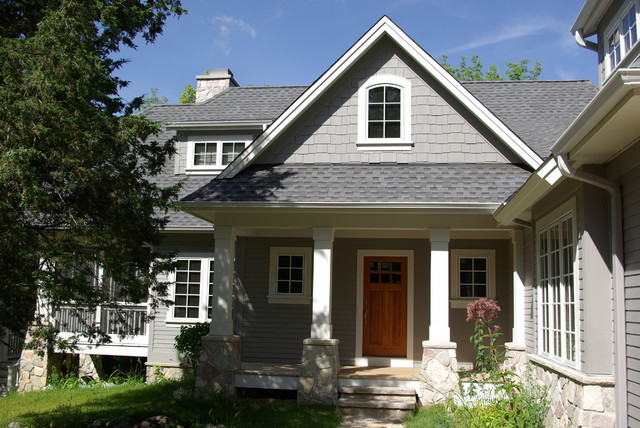 Trackett residence traditional exterior milwaukee by highland builders llc for Sherwin williams dovetail gray exterior