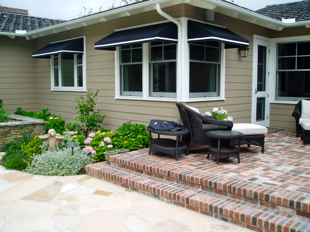 traditional cottage garden rancho santa fe landscape brick stone turfstone traditional-exterior
