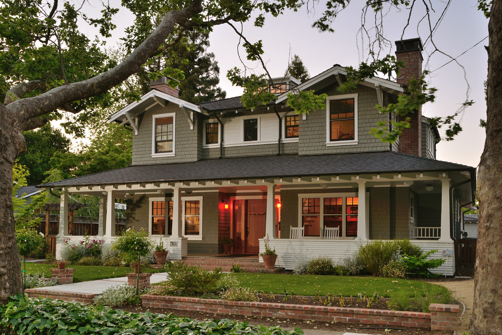 Inspiration for a craftsman gray two-story exterior home remodel in San Francisco