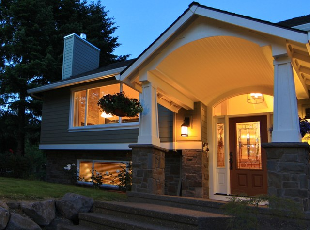 Barrel vaulted porch traditional exterior portland for Split level ranch remodel