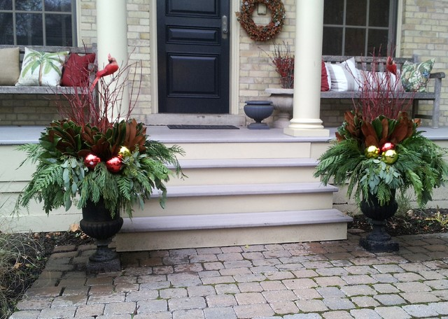 garage wall decorating ideas - Winter Containers Traditional Exterior by
