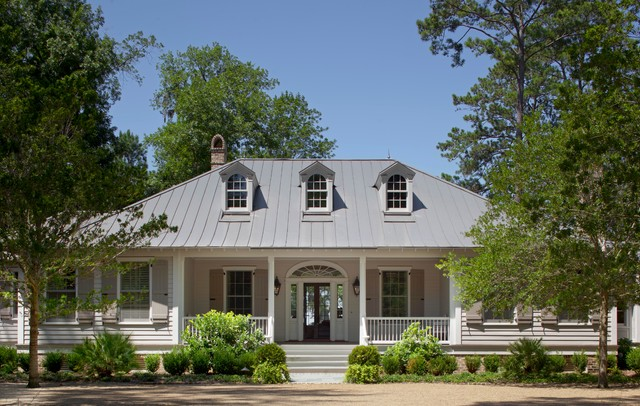 Traditional Beige One Story Exterior Home Idea In Charleston With A Metal Roof