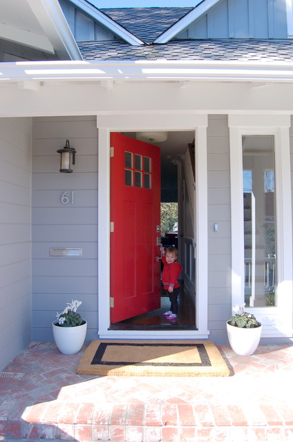 Red Front Door With Grey House Traditional Exterior