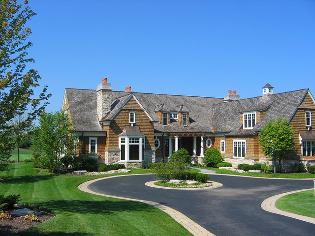 Traditional exterior for House plans with circular driveway