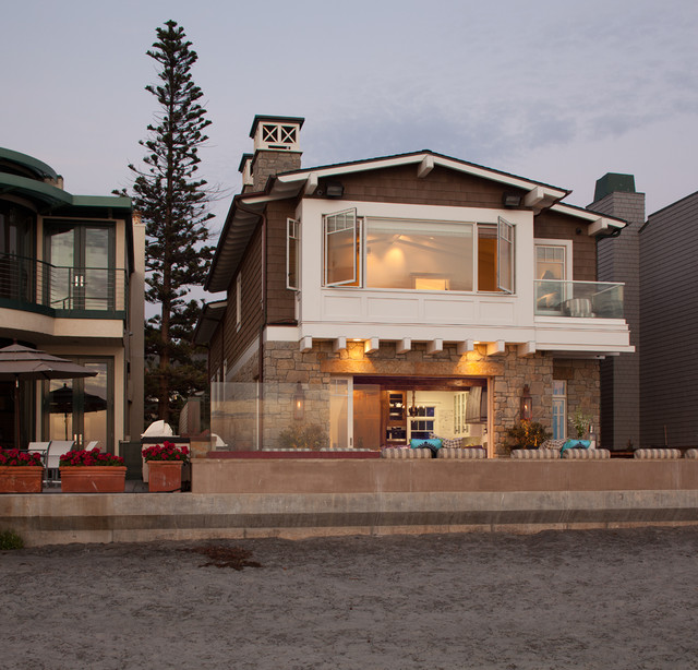Transitional beach house beach style exterior san for Beach style house exterior