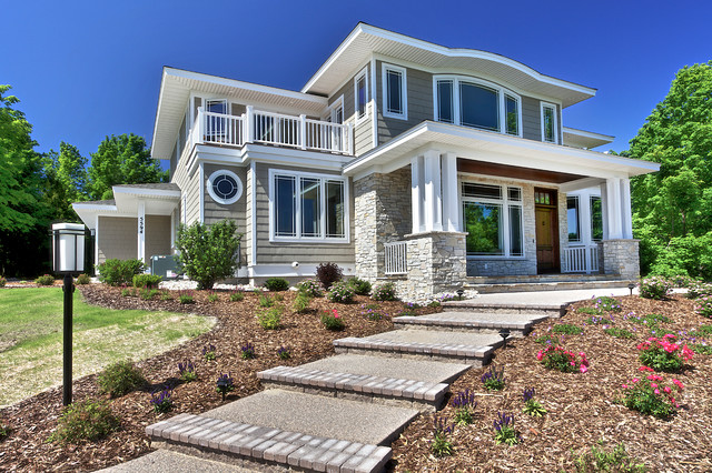 Transitional craftsman custom luxury home overlooking west bay for Craftsman luxury homes