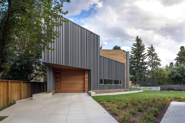 Trapezoid House Contemporary Exterior Edmonton By