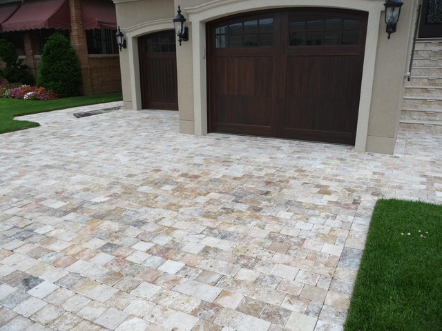 Travertine Pavers Driveway Traditional Exterior