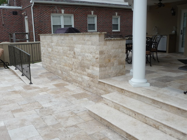 Travertine Pool Patio Area Mediterranean