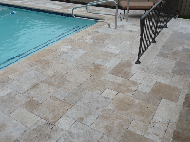 Travertine Pool / Patio Area Traditional Exterior