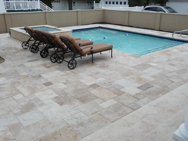 travertine pool surround - traditional - exterior - philadelphia