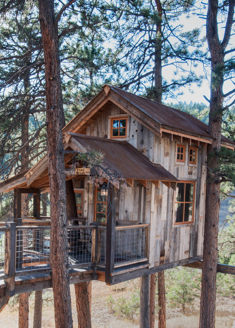 Tree house with Natureaged siding rustic-exterior