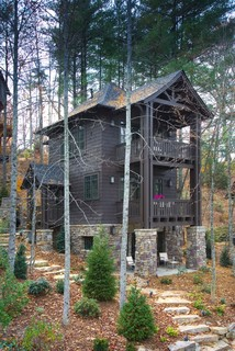 Rustic two story small house exterior design.