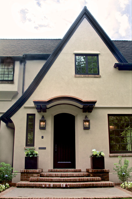Tudor revival home traditional exterior portland Front door color ideas for beige house