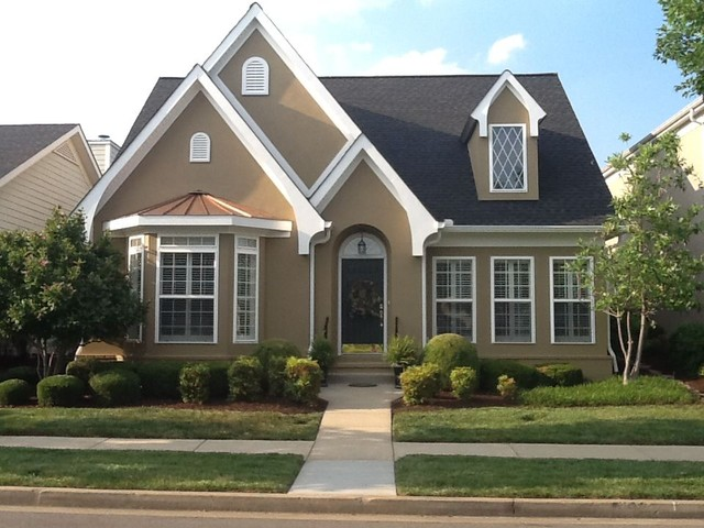 Tudor style stucco traditional exterior nashville for Stucco house paint colors