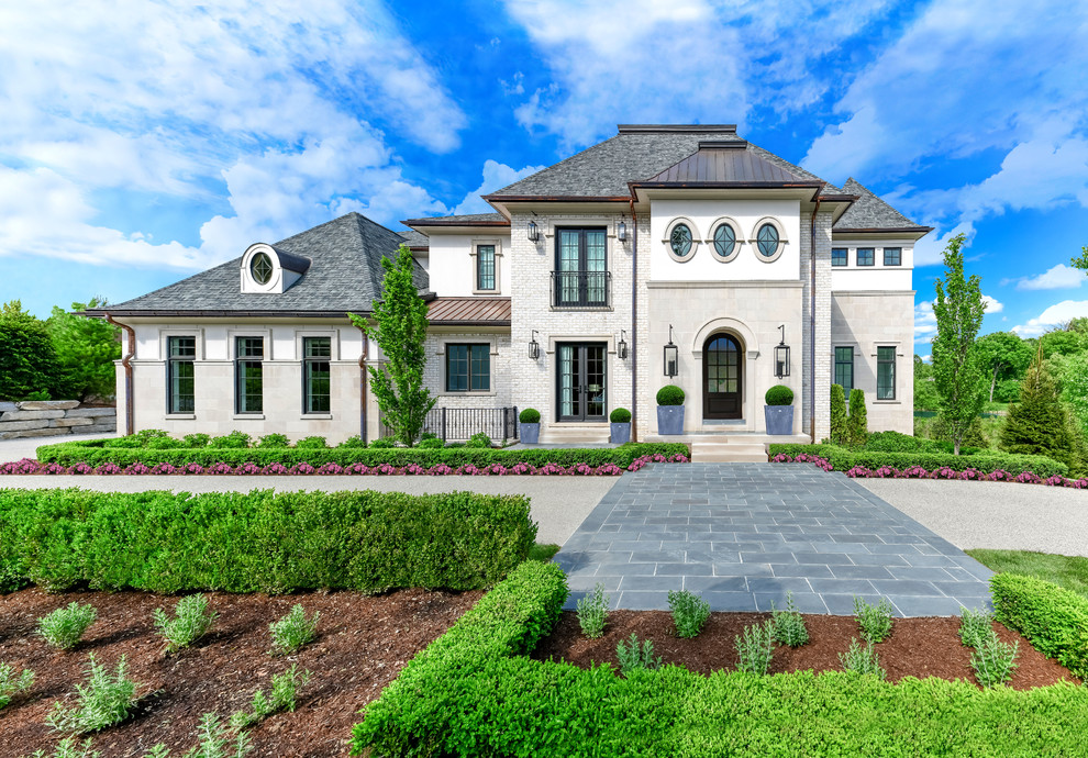 Large transitional two-story house exterior photo in Detroit