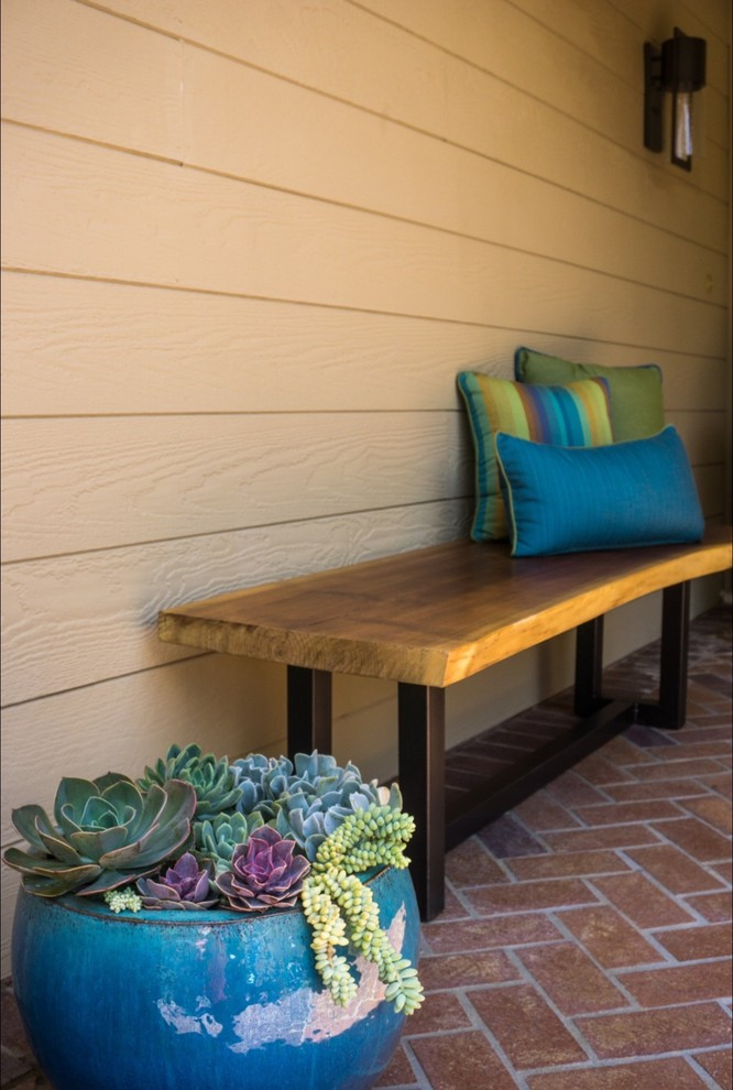 Inspiration for a transitional exterior home remodel in Orange County