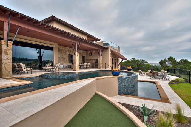 Tuscan Custom Home on Golf Course mediterranean-exterior