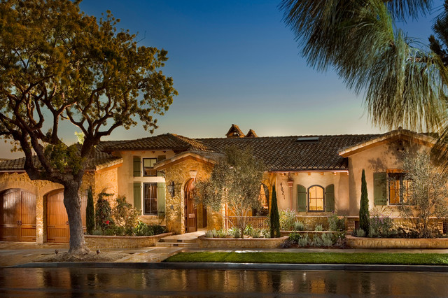 Tuscan farm house mediterranean exterior other by for Single story mediterranean style homes