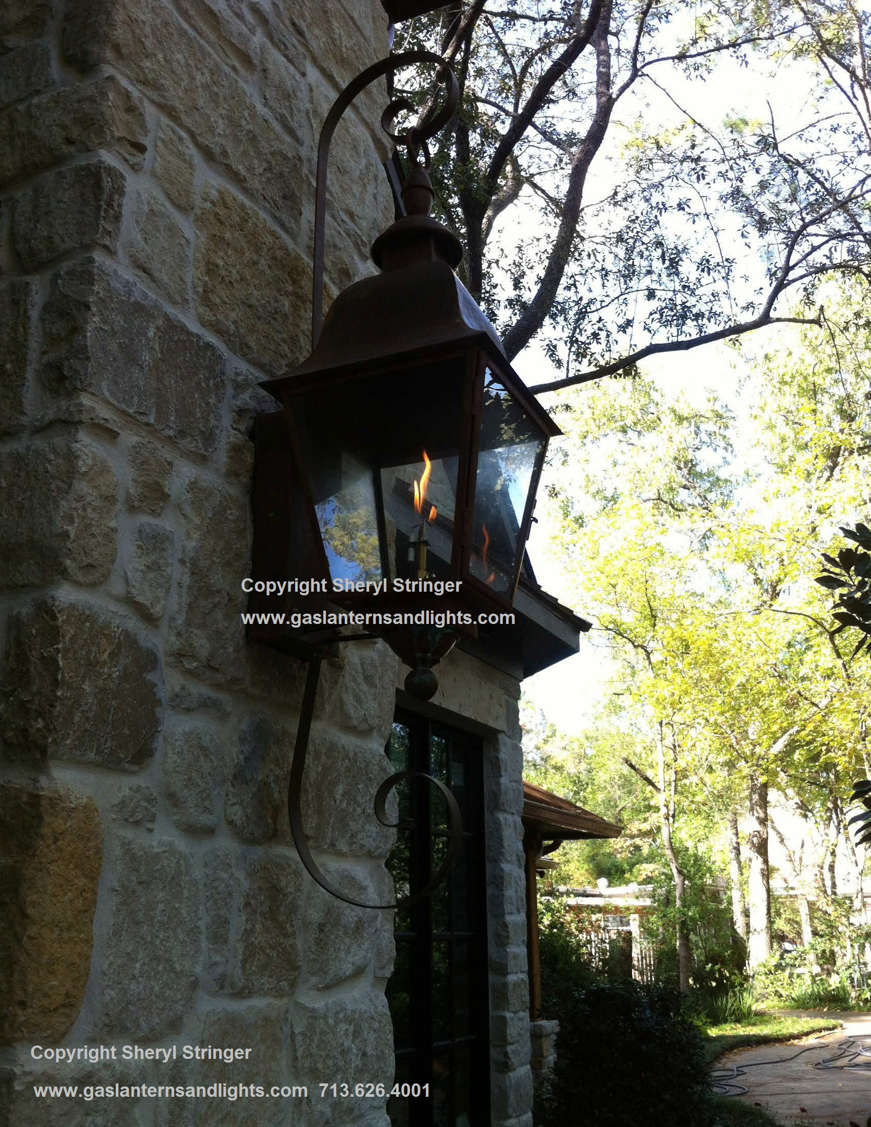 Tuscan Gas Lantern with Curls by Sheryl Stringer