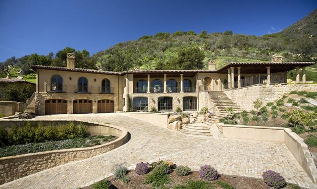 Tuscan Hillside Home Mediterranean Exterior Santa
