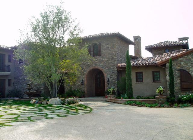 tuscan, stone, flagstone motorcourt mediterranean-exterior