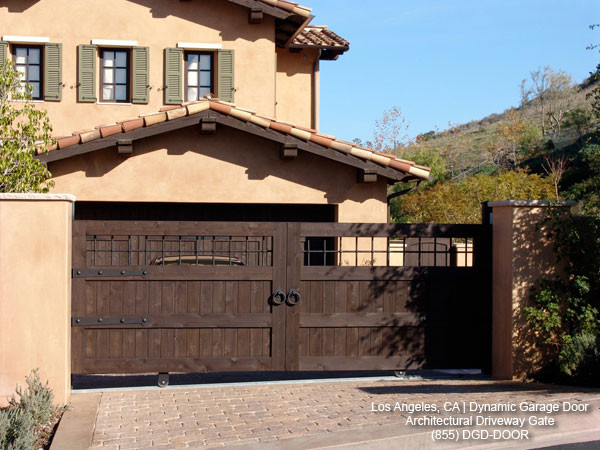 Tuscan style custom architectural driveway gate Italian garage doors