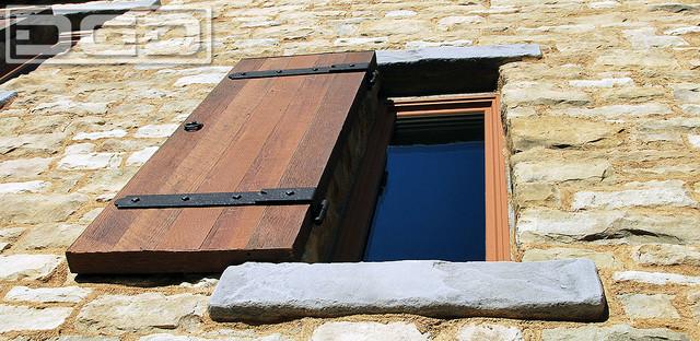 Tuscan Style Window Shutters in Reclaimed Wood & Rustic Hardware