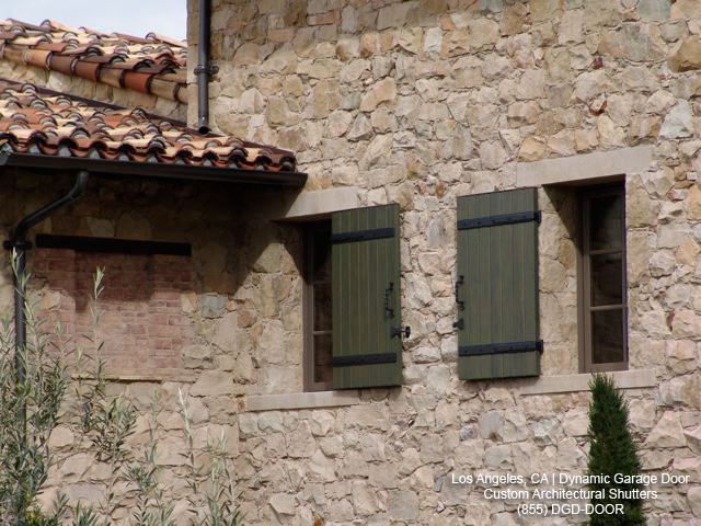 Tuscan Style Wooden WIndow Shutters Los Angeles CA Mediterranean Exter