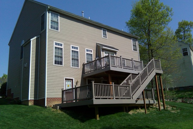 Two Level Composite Deck Traditional Exterior