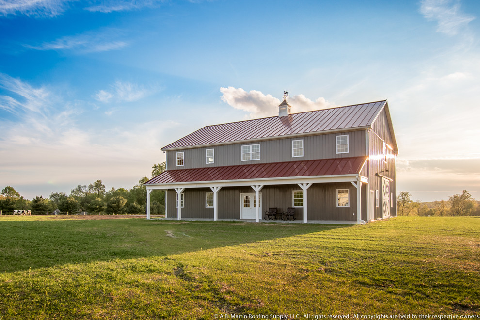 Pole Barn With Colonial Red Abseam Roof