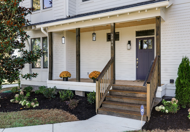Urban Farmhouse Dark Wood Stained Porch