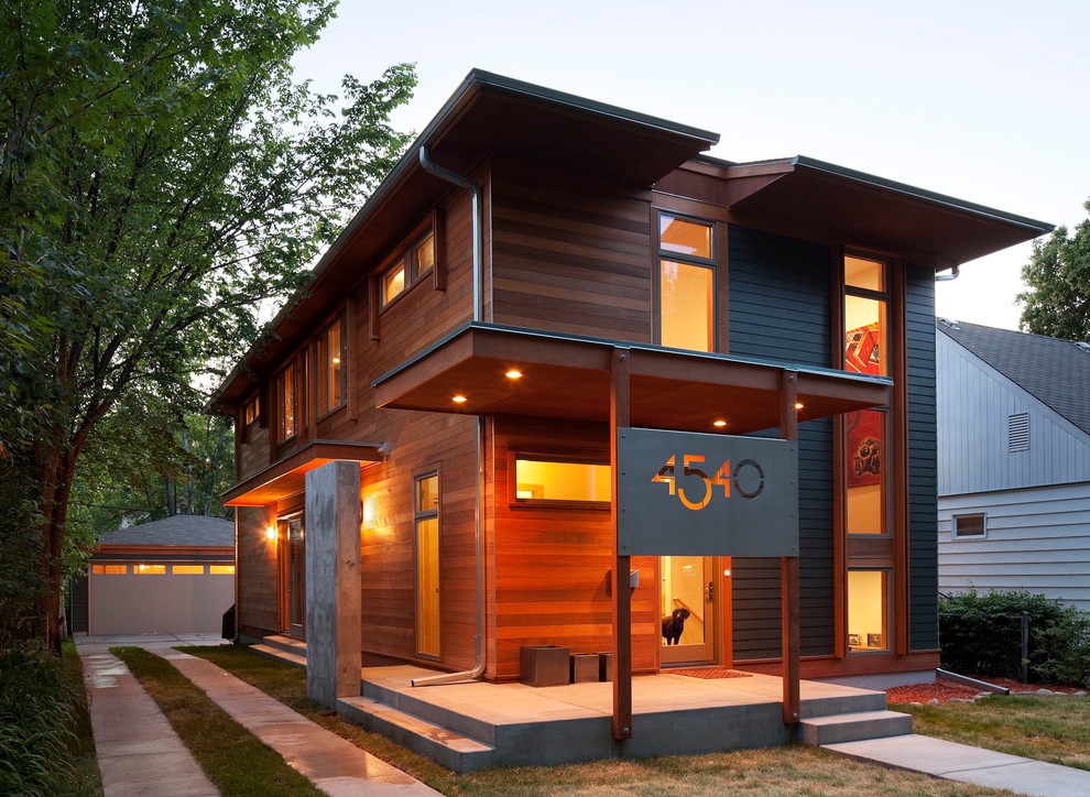 Modern wood exterior home idea in Minneapolis