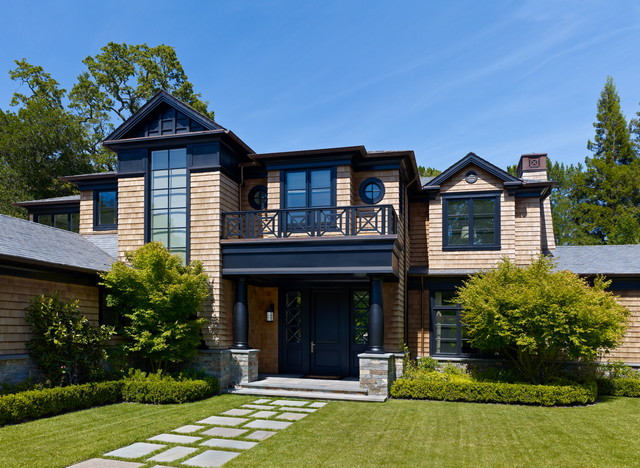 Urbane shingle style residence traditional exterior for Modern shingle style architecture