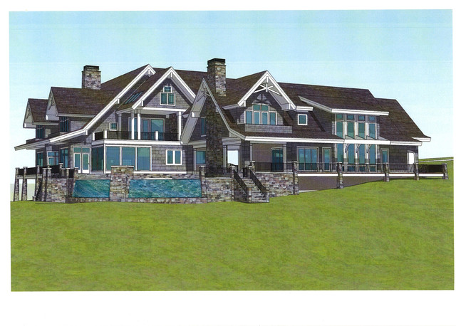 Vacation lakefront home custom design 12 822 square feet for Vacation home plans waterfront