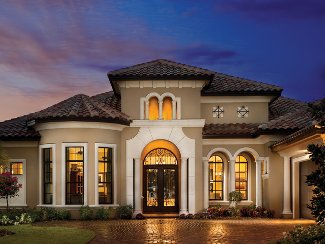 Inspiration For A Mediterranean Gray Two Story Exterior Home Remodel In  Tampa