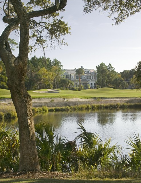 View from lagoon and golf course traditional-exterior