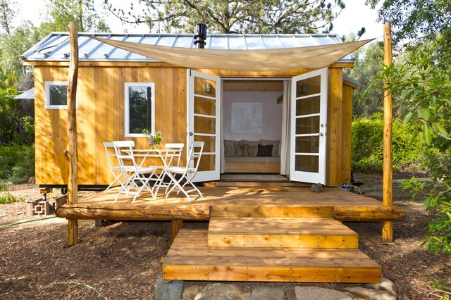 Vina 39 s tiny house contemporary porch other metro for Tiny house with porch