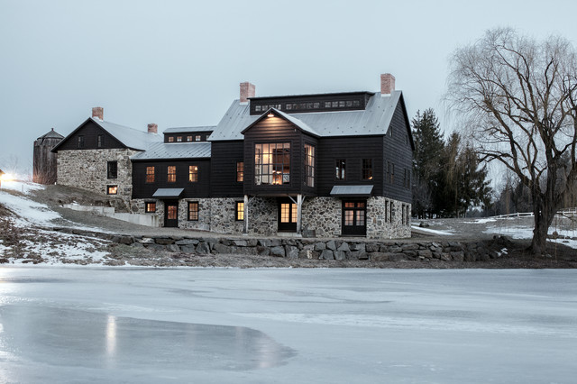 Vintage barn frame addition to Dutch stone house - Farmhouse - Exterior - Boston - by KATE JOHNS AIA