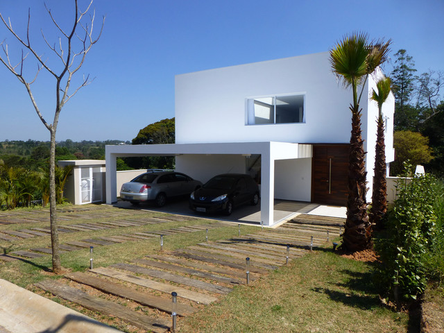 Contemporary two-story exterior home idea in Other
