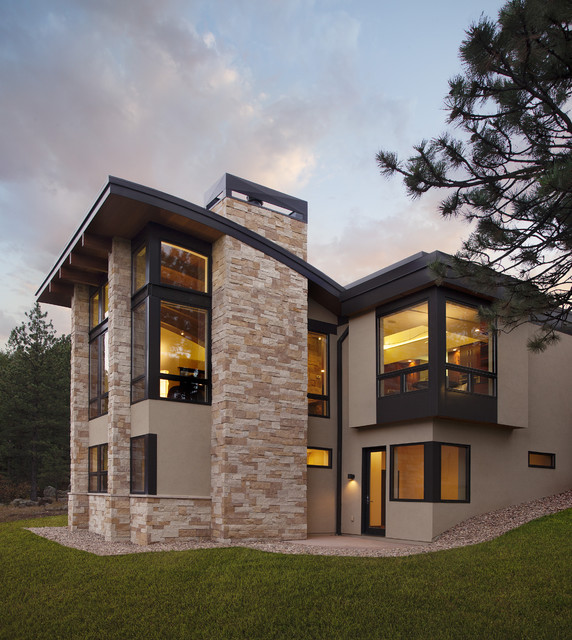 Pine brook boulder mountain residence exterior modern for Modern mountain house plans