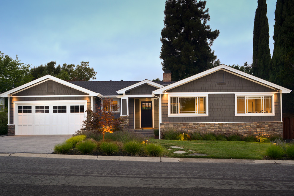 Inspiration for a mid-sized craftsman brown one-story wood gable roof remodel in San Francisco