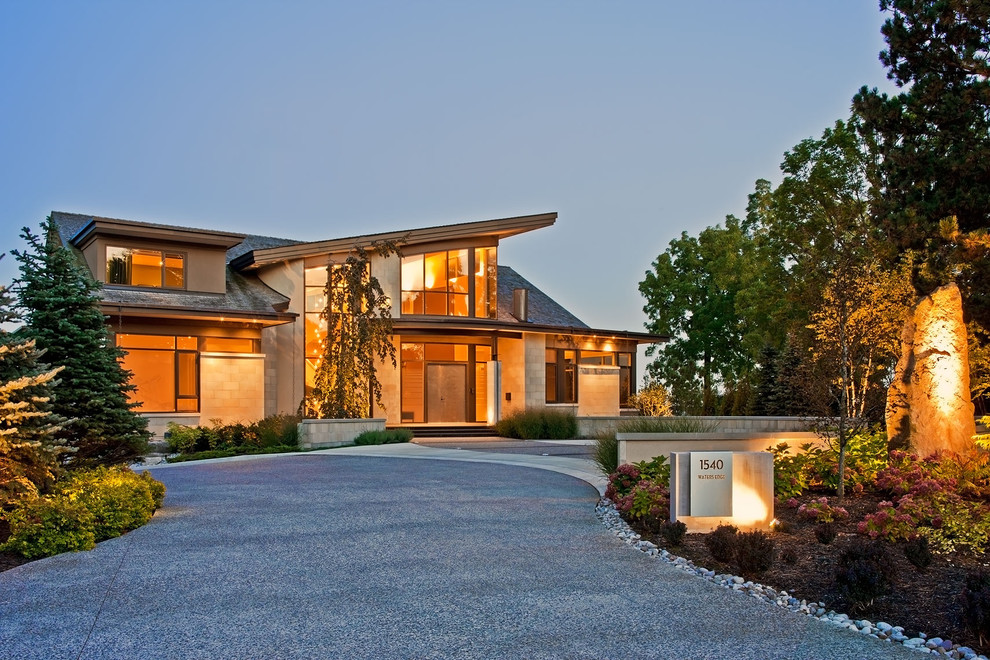 Example of a trendy two-story exterior home design in Toronto
