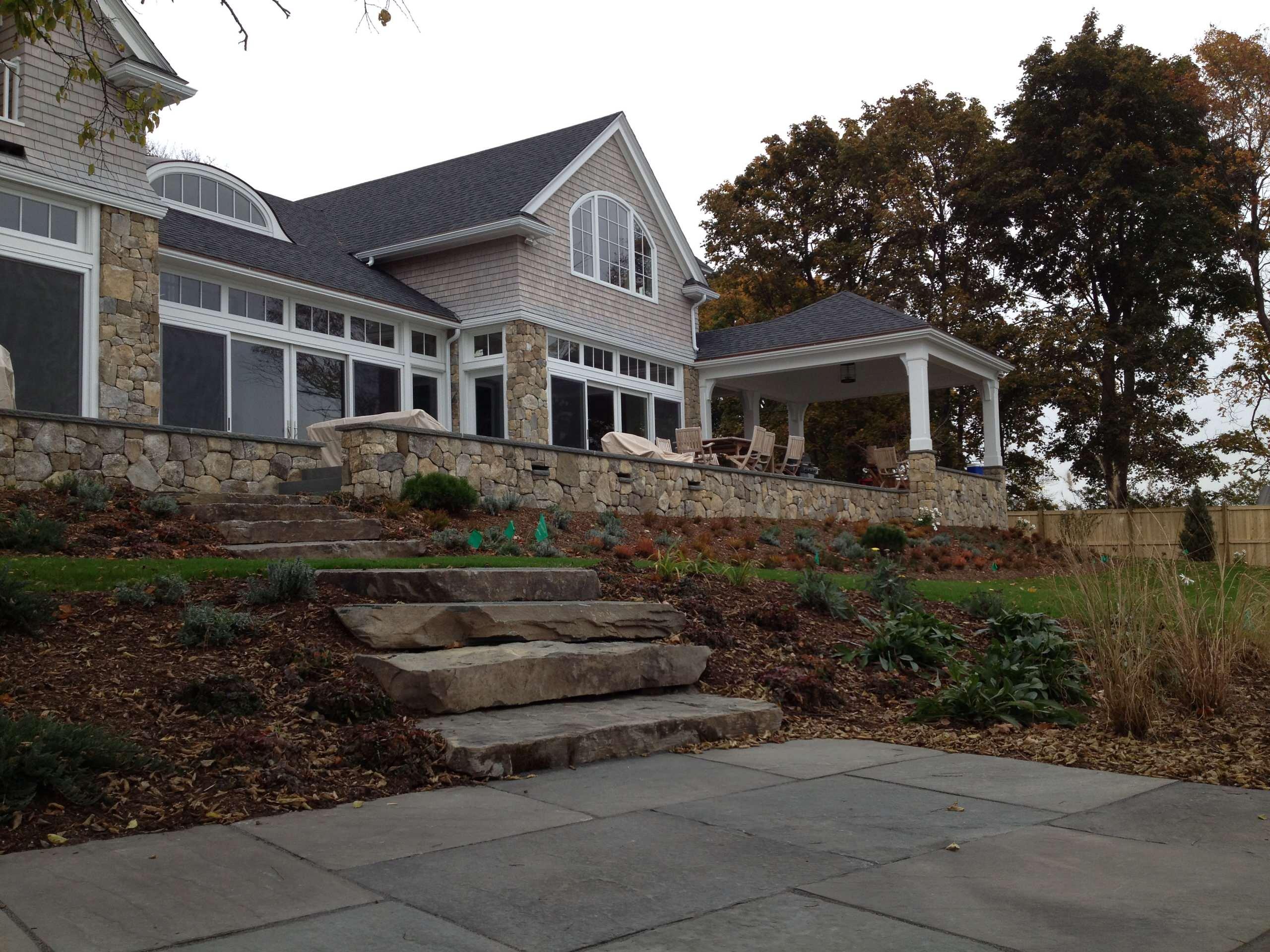 We added a small, shaded bluestone terrace adjacent to seawall.