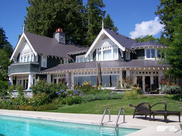 Weathered Grey Interlock Slate Roof - West Vancouver, BC traditional-exterior